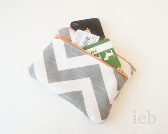Zip Wallet - Personalized Chevron Pouch with initials - Double Zip Monogrammed Makeup bag - Bridesmaid clutches- Small