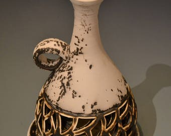 Brian Flowers Obvara Carved Luminary with Plate/ Brian Flowers Pottery/Obvara Firing/ Luminary Vase