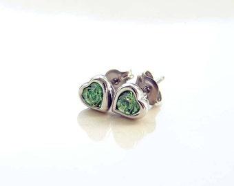 August Birthday. Teeny Tiny Peridot Green Earrings. Swarovski Peridot Heart Stud Earrings. Bridesmaid Earrings. Titanium Post Earrings