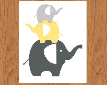 Elephant Nursery Art Print Grey Yellow Elephant Family Modern Baby Room Wall Art Home Decor Gender Neutral 8x10 Matte Finish Print (16)