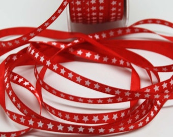 Patriotic Satin Print Ribbon  -- Red with White Stars -- 1/4 inch -- July 4 Decorative Trim