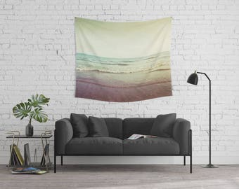 wall tapestry large size wall art. ocean sea tapestry, dreamy, nursery decor beach nautical beige fawn purple blue yellow