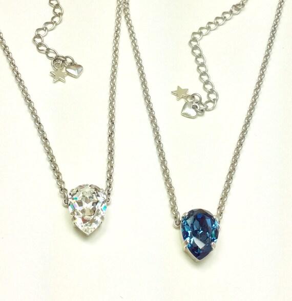 Swarovski Crystal Necklace - 13x18MM Pear Shape Solitare - Clear Crystal or Denim Blue -Designer Inspired - Sparkle & Shimmer- FREE SHIPPING
