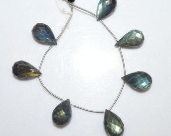 "Natural Labradorite Tear Drop Briolette - Labradorite Faceted Beads , Labradorite Briolette , 12x20 - 13x22 mm , 6.5"" - BL1435"