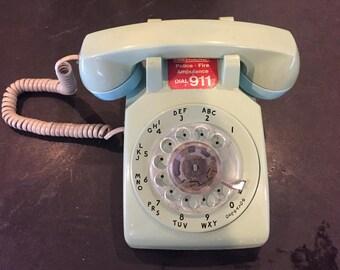 Vintage rotary phone seafoam - works!
