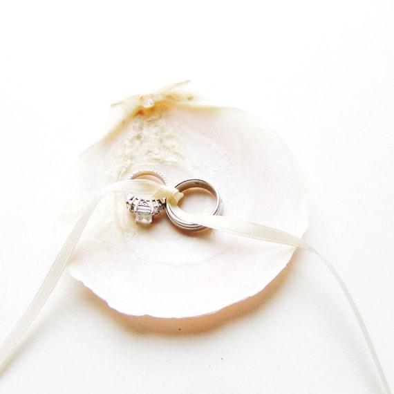 RING PILLOW ALTERNATIVE Wedding Ring Holder Seashell Ring