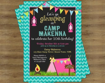 Glamping Party Invitation; Camping Birthday Invitation for Girls; Glamping Birthday Invitation; Camping Invitation for Girls