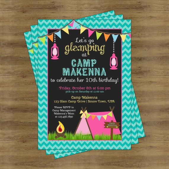 Glamping Party Invitation Camping Birthday Invitation for