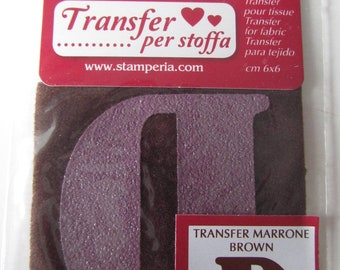 Transfer for fabric - letter D - brown color - 6 cm x 6 cm