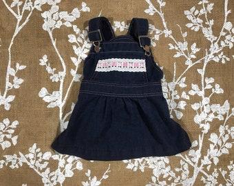 12m Healthtex Vintage Denim Baby Girls Overalls Dress Jumper