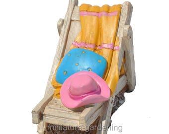 Beach Chair with Accessories, 1 Piece for Miniature Garden, Fairy Garden