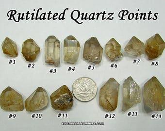 Rutilated Quartz Point raw rough stone for crystal healing Rutile
