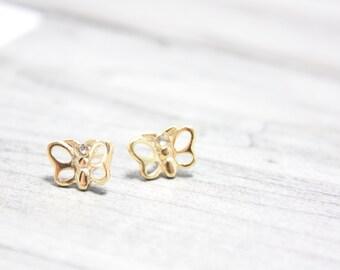 SALE Open Wing Butterfly Stud Earrings, Gold Plated over Brass Studs, 7mm Butterflies