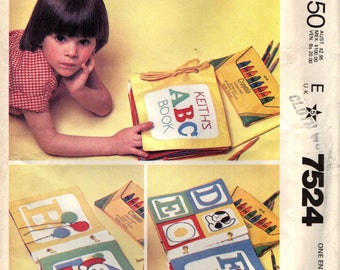 MCCall's 7524 Cloth ALPHABET LEARNING BOOK 1980s ABCs