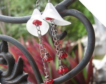 Tulip Red and White flower earrings
