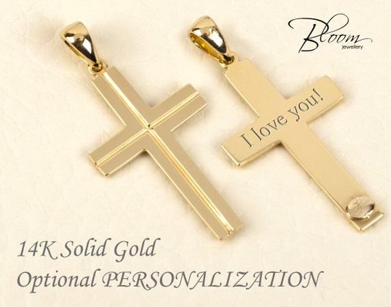 Solid gold cross pendant 14k gold cross for man gold cross te gusta este artculo aloadofball Image collections