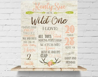 Wild One First Birthday Poster  Tribal Arrow Girls Antlers Floarl Wood Coral First Birthday Sign,Printable File,Photo Prop, Listing #2001