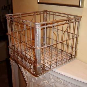MILK CRATE Crusty Rusty Metal Box BROOKLYN New York Grandview Iron Steel Square Handles old vintage antique industrial salvage steampunk