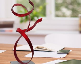 NEW! Small Red Abstract Desktop Sculpture, Modern Metal Art, Contemporary Table Decor, Home and Office Art - Red Allure Accent by Jon Allen