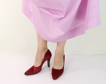VINTAGE Red Heels Satin Pumps Salvatore Ferragamo Size 7 Womens Shoes