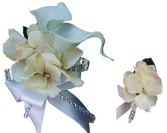 2pc Set - Calla Lily and Hydrangea Wrist Corsage and Boutonniere: White and Ivory (BCSET-24)