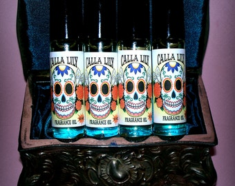 "Day of the Dead Sugar Skull ""Calla Lilly"" Vegan Perfume Oil Fragrance Oil Roller"