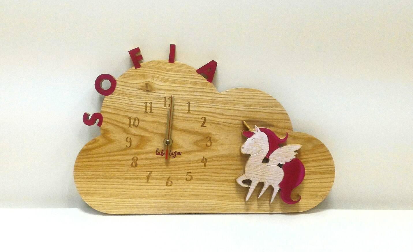 Unicorn Watch WOODY-wood-wall clock-kids decor-Personalized