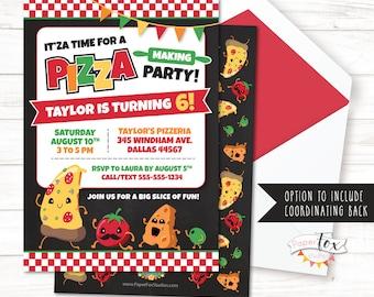 Pizza Party Invitation, Pizza Birthday Invitation, Pizza Invitation, Pizza Party Invite, Chef Birthday Party, Pizza Making Party, Girls Boys
