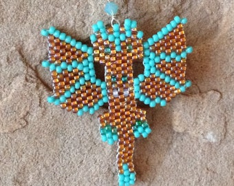 Turquoise and Rose Gold Dragon Necklace, Fun Whimsical Dragons in Peyote, Guardian Dragons for Gamers, Geeks, Larpers and Dragon Fans
