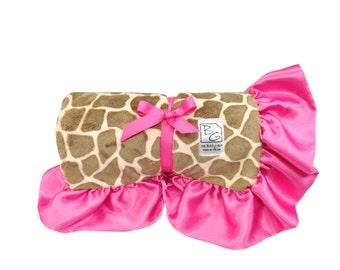 Giraffe Stroller Blanket Brown/Bubblegum/Hot Pink