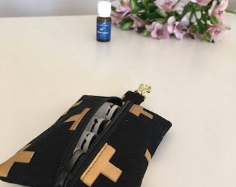 Black and Gold Crosses Essential Oil Keyring - Essential Oil Pouch - Essential Oil Purse - Essential Oil Bag