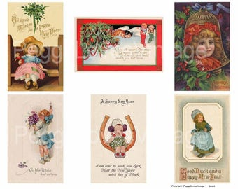 New Year's Girls Digital Collare from Vintage Christmas Greeting Cards -  Instant Download - Cut Outs
