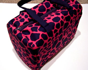 Pink and Blue Giraffe Print Satchel Purse