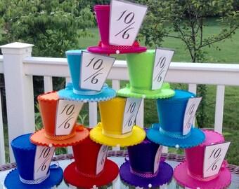 "Alice in Wonderland Decorations, Set of 10 Mad Hatter Felt Tea Party Hats (4.5"" Tall) - Onederland Birthday, Baby Shower Bridal Shower Props"