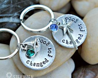 """Wicked the musical inspired """"Changed for good"""" Key Chain with Swarovski Crystals - Actor Gift - Theater Gift - Bestfriends Gift - Unisex"""
