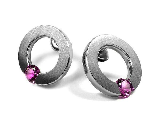 Pink Sapphire Stud Post Tension Set Earrings Steel Stainless