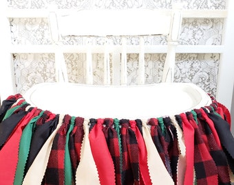 LUMBERJACK Birthday Highchair Banner Woodland Birthday Banner Photo Props for Cake Smash Hunting Red and Black Buffalo Plaid Banner One