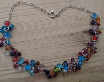 Vintage colourful glass bead necklace