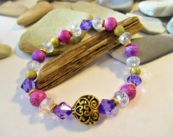 Purple and Gold Stretch Bracelet | Stackable Bracelets | Beaded Bracelets | Gold Heart Bracelet | Valentines Day Gift | Pink and Purple Gift