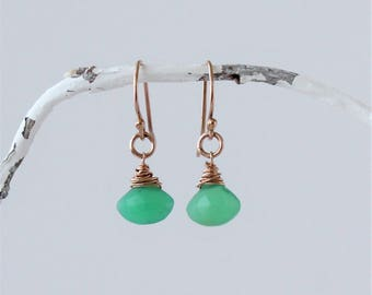 Small Chrysoprase and Rose Gold Filled Earrings, Chrysoprase dangle earrings, Chrysoprase drops, Gift for her
