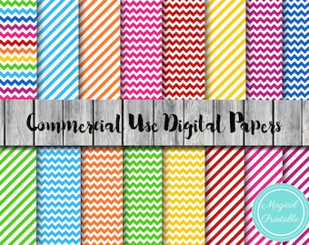 Rainbow Chevron Digital Paper, Stripes, Instant Download Digital Papers, Commercial Use, Scrapbook Digital Papers, Digital Background, dp149