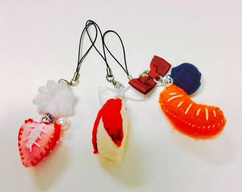 Fruit slice phone charms