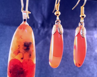 Translucent Agate Pendant and Earrings Set, Hands made unique jewelry in pretty color