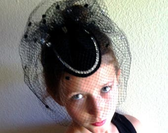 "Delightiful 1980s ""Betmar""Cocktail Hat Rhinestone Banded Velvet Oval/DecoratedVeil/Back Bow Item #815 Hats"
