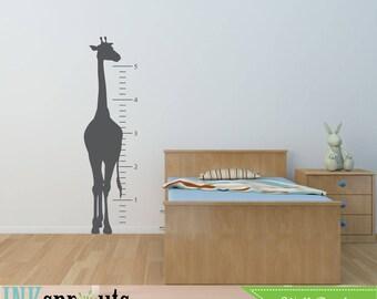 Giraffe Grow Chart Decal, Safari decal, Jungle decal, Play room, realistic giraffe, Classic, Simple, Nursery decals, Baby Decals,