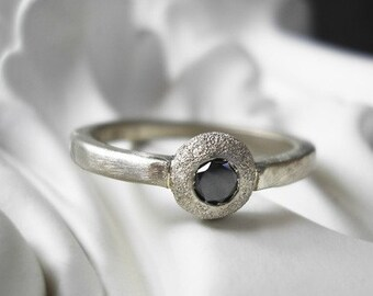 Evening Star -black diamond ring 14k recycled gold