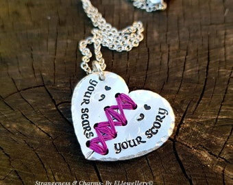 Hand stamped 'Your Scars, Your Story' Aluminium Stitched Heart Necklace,Inspirational,Semi Colon Jewelry,Broken Heart Necklace,Empowerment.
