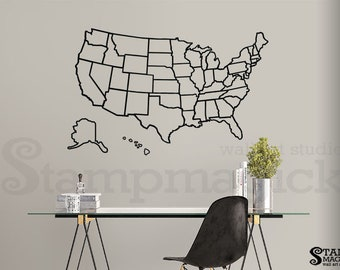 united states of america map outlines wall decal usa outlined boundaries wall map vinyl chalkboard