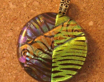 Brown Dichroic Pendant - Fused Glass Pendant - Dichroic Jewelry - Glass Pendant - Glass Jewelry - Dichroic Necklace -