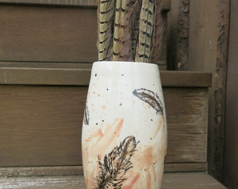 Golden Feathers, Ceramic Art Vase White Pink and Gold Woodland One of a Kind Home Decor, Handmade Artisan Pottery by Licia Lucas Pfadt